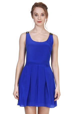 Cindy + Johnny dazzling blue Silk dress with sparkling embellishment at the shoulders #Holidays #Cobalt #Sequins
