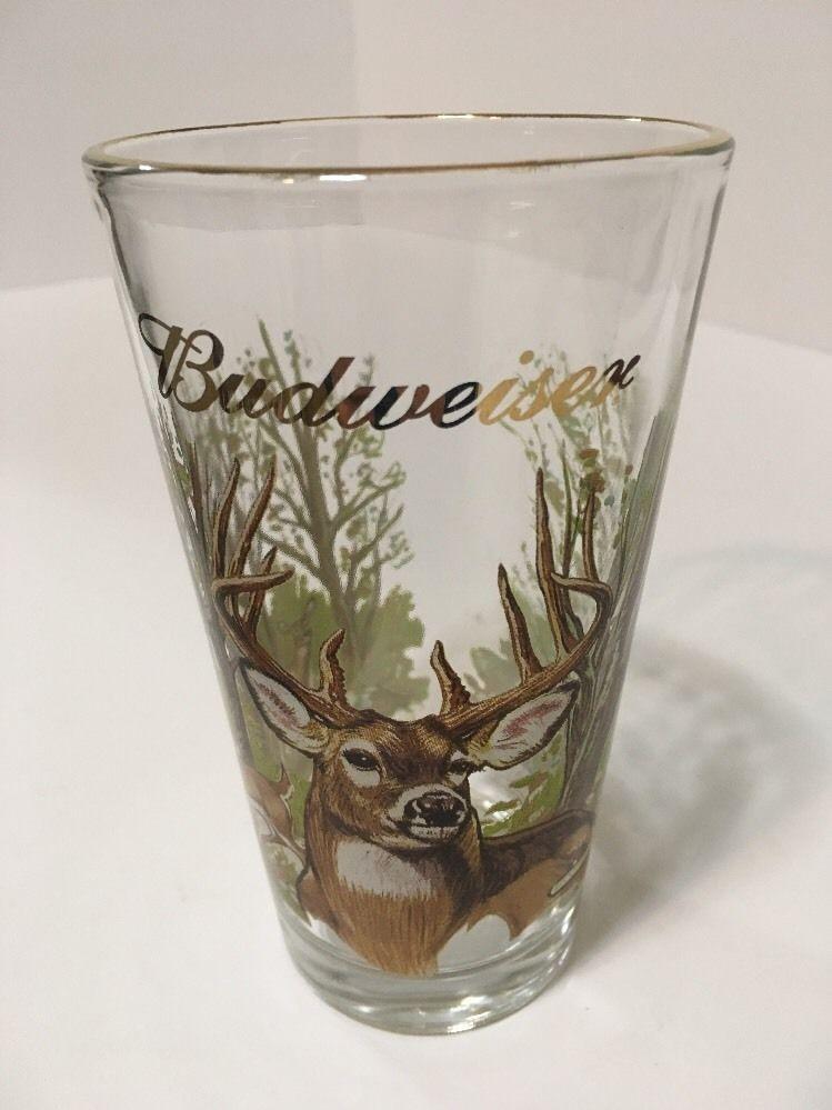 Budweiser Print Beer Glass Wildlife Buck, Deer, Duck, Quail