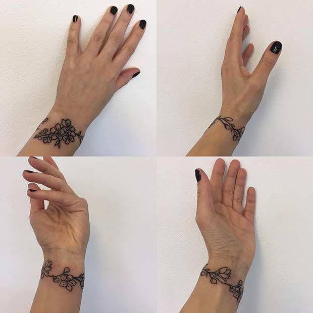 10 Stylish Wrist Tattoo Ideas For Women 9 Floral Bracelet Flower Wrist Tattoos Wrist Tattoos For Women Wrist Tattoos