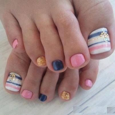 Pedicure Toe Nail Art Blue Gold Pink Stripes Feet Pinterest
