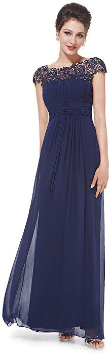 08b22840ef18 Ever-Pretty Womens Cap Sleeve Formal Wedding Guest Dress 16 US Navy Blue at  Amazon Women s Clothing store