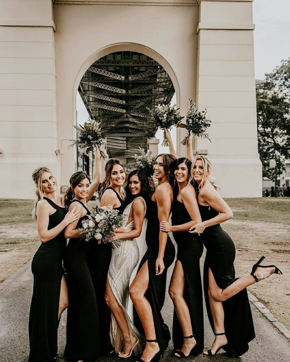 19 Bride Party Photos You Can T Miss Out On For Your Wedding Day Bride Black Bridesmaid Dresses Bride Tribe