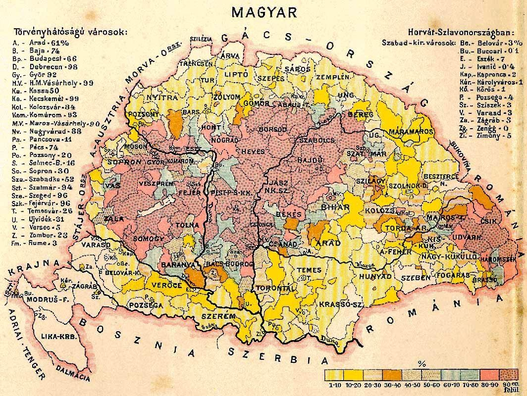 Magyars in Hungary (1890) | HUNGARIAN everything MAGYAR | Map ...