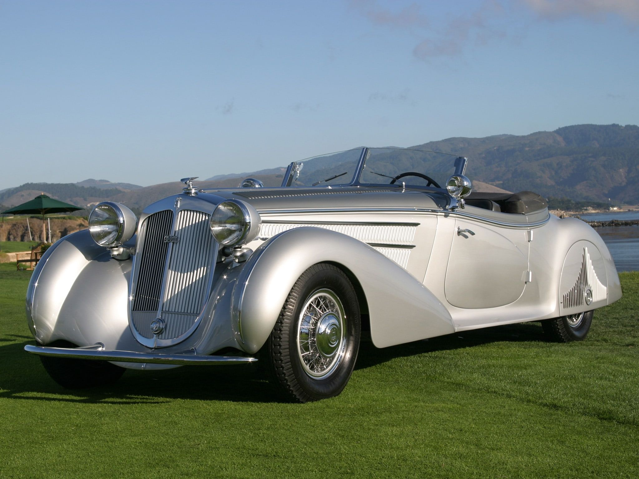 horch 853 #retro #luxury #cars #silver #grass #Vehicle