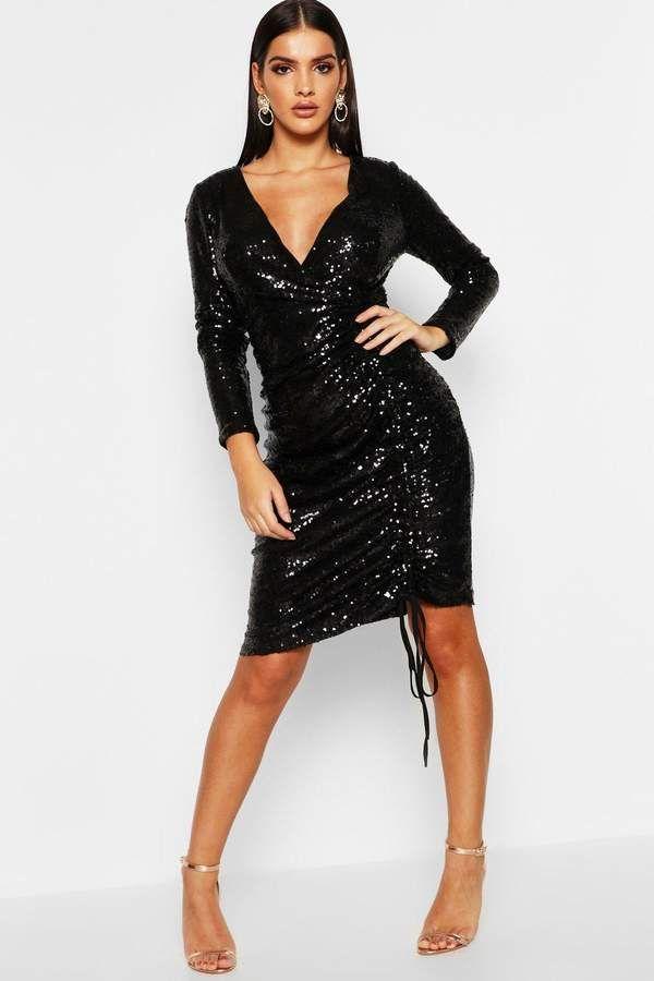 boohoo Sequin Plunge Neck Ruched Midi Dress   Kleider ...