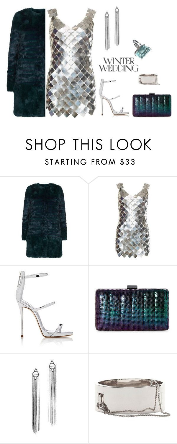 """""""outfit 5712"""" by natalyag ❤ liked on Polyvore featuring Maje, Paco Rabanne, Giuseppe Zanotti, Jessica McClintock, JoÃ«lle Jewellery and Eddie Borgo"""