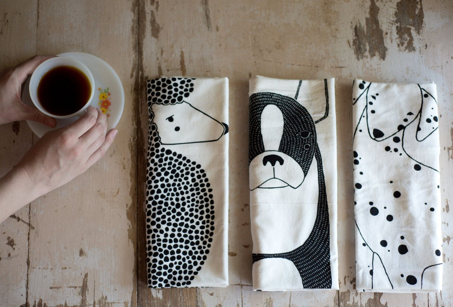 Tea Towel Bundle 3 Dog Tea Towels Printed with Eco Friendly Inks (50.00 USD) by Gingiber