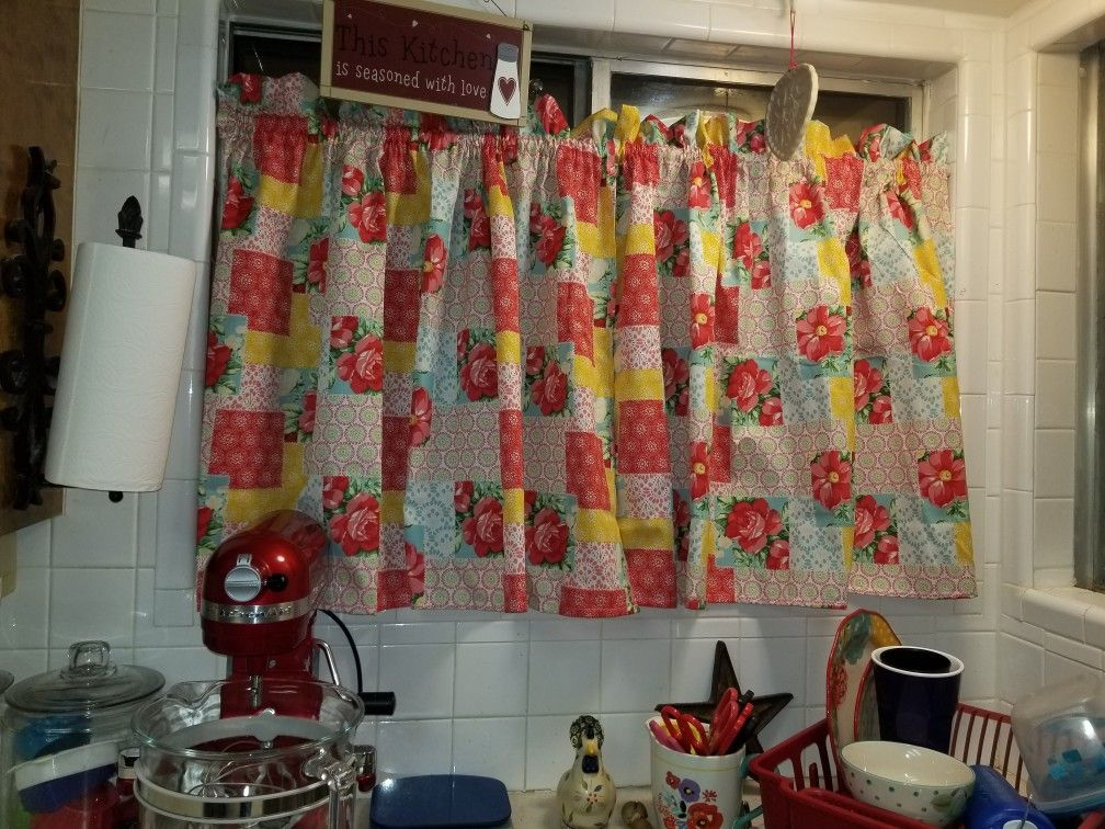 Pioneer Woman Tablecloth Made Into Curtains For My Kitchen Window WindowsPioneer WomanCurtainsWalmartInsulated