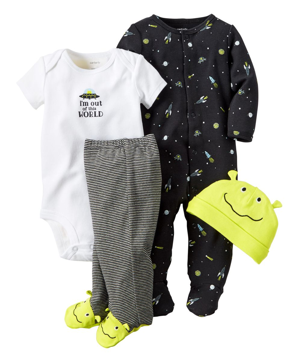 Black and yellow dress kids  Green u Black Alien uIum Out of This Worldu Footie Pants Set