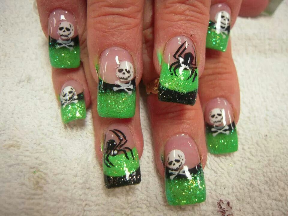 Green And Black Spider And Skull Acrylic Halloween Nails Halloween Nail Art Halloween Nail Designs Halloween Nails Diy