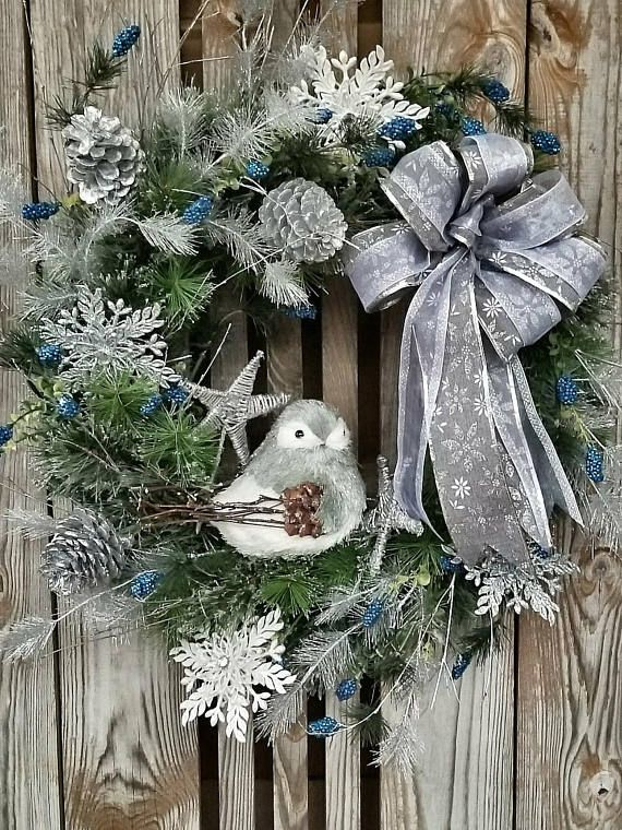 Owl Wreath-Winter Wreath For Front Door White Owl Love this cute winter wreath for the front porch, door or patio. Adorable seasonal decor. Perfect for after Christmas. #wreath #winter #afflink