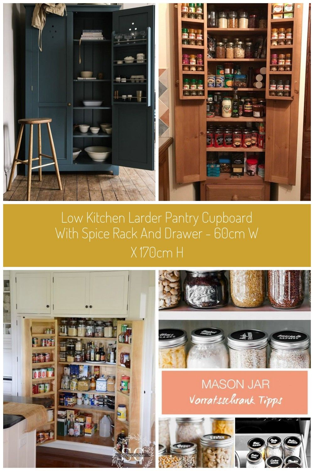 Freestanding Full Height Pantry Cupboardlow Larder Utility Room Storage Cabinet With Spice Racks And Drawer 40 Cm Deep Maximum Sizes For This Item Are 170cm Hig