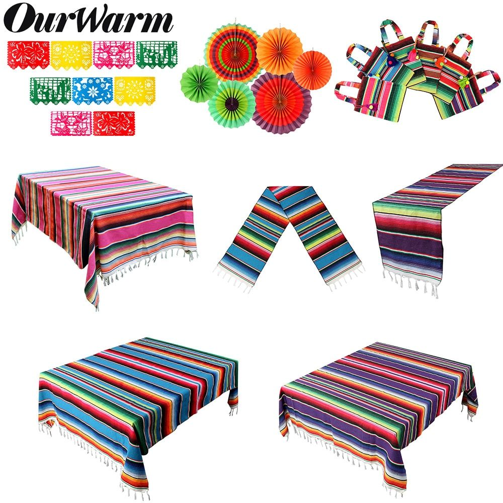 OurWarm Mexican Party Supplies Serape Cotton Tablecloth Table Runner Felt Banner…