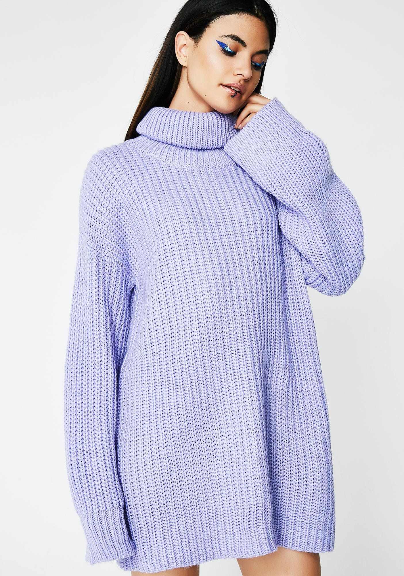 d695a651aa0f Lavender Gray Skies Sweater Dress cuz you re always lookin  good… rain or  shine! This lavender sweater dress has a turtleneck with a mini fit.