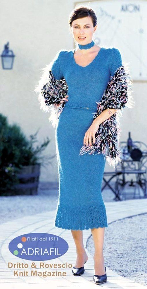 Free Knitting Pattern For Womens Dress Carmela Set In Adriafil