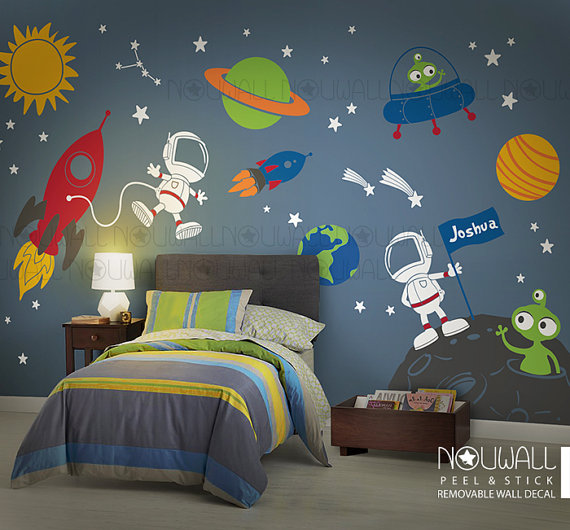 space wall decal, planets, astronaut, boy, star, kids, rocket ship