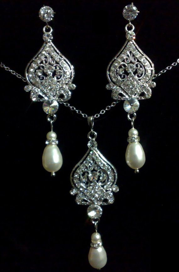 Pearl Chandelier Bridal Jewelry Set Sterling Silver By Yjdesign 82 00