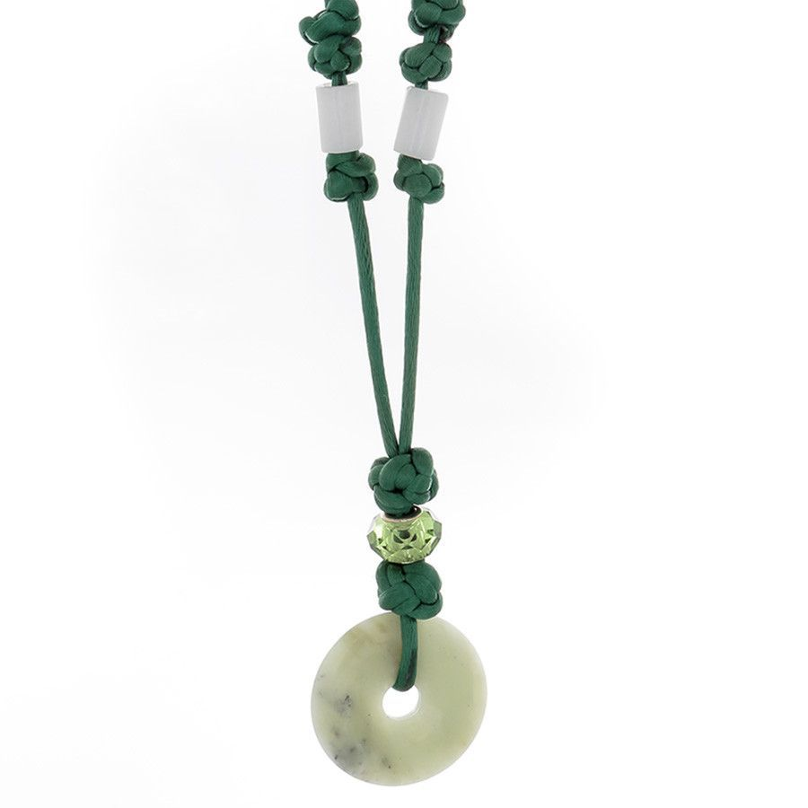Adventurine donot with Crsytal and glass bead Necklace