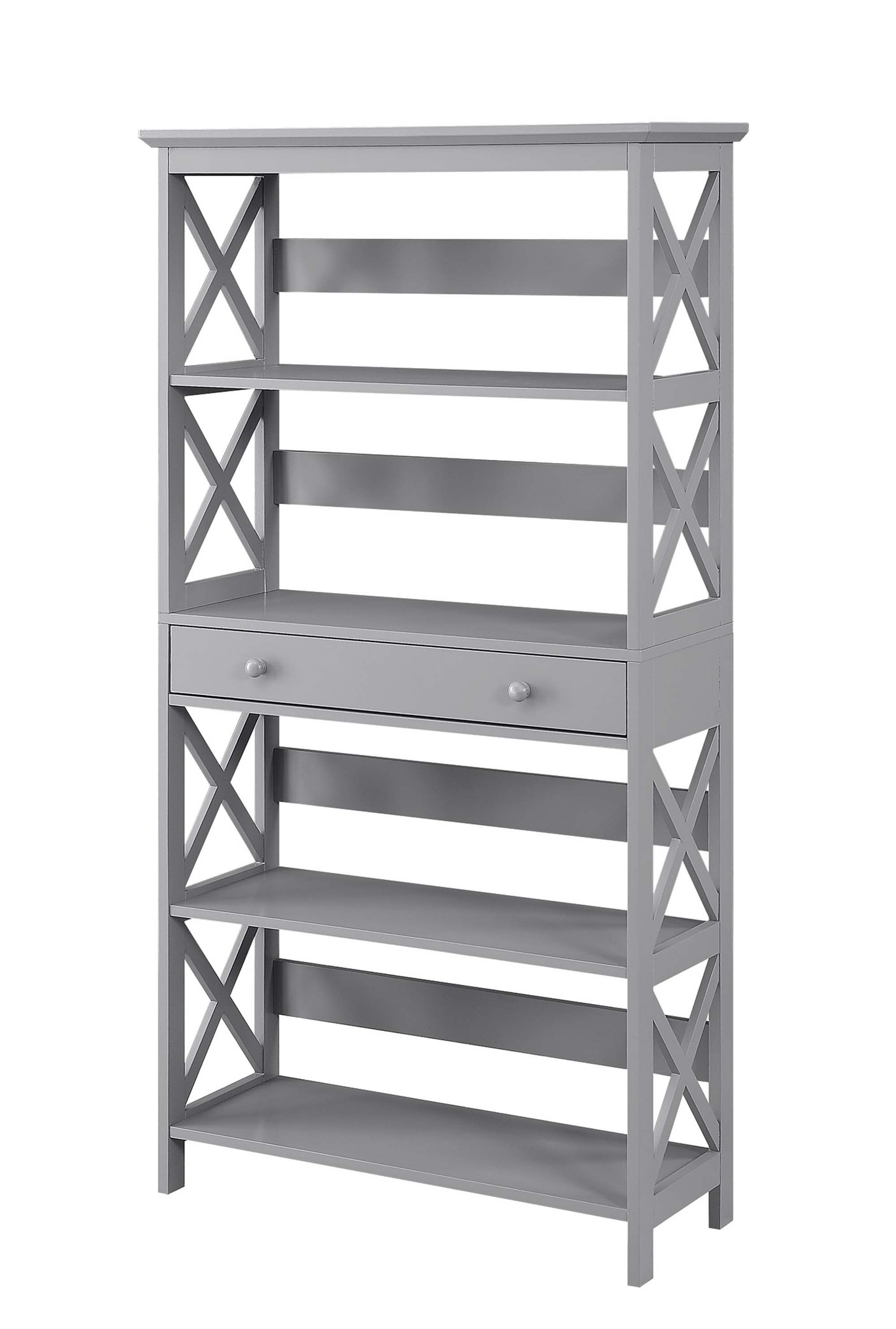 Oxford 5 Tier Bookcase With Drawer In Gray Convenience Concepts 203051gy Bookcase With Drawers Bookcase Etagere Bookcase