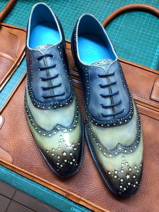 Dominique Saint Paul. Hand coloured full brogue shoes, three colours with patina.