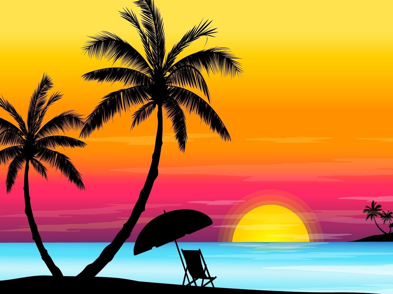 Sunset Vector Shadows Palm Trees 1920x1200 Wallpaper Art Hd