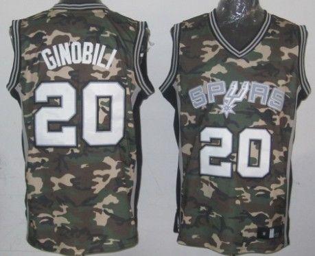 premium selection 207a6 dea82 San Antonio Spurs #20 Manu Ginobili Camo Fashion Jersey ...