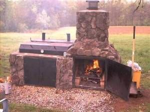 Stone bbq designs bbq grills picnic area lllllllll for Outdoor kitchen smoker plans