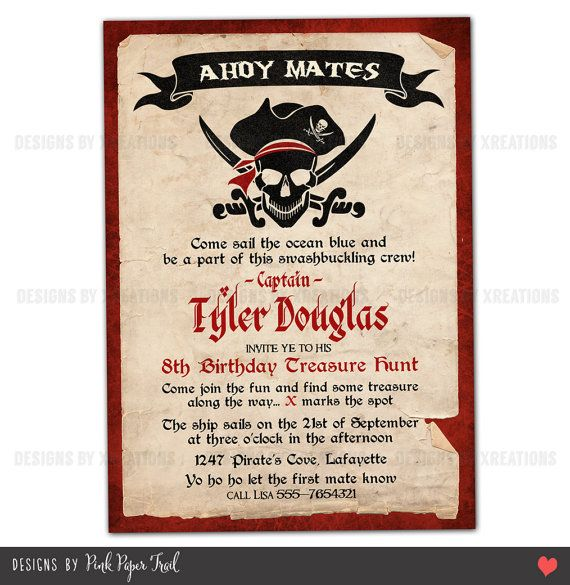 Pirate party invitation i will customize for you print your own birthday party ideas pirate invitations wording pirate invitation customizable wordings and texts print your own filmwisefo