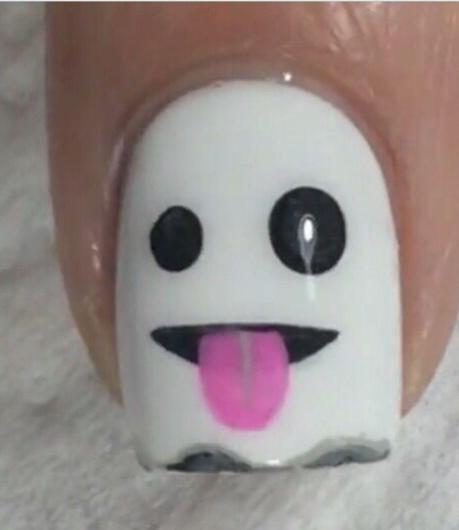 Snapchat Ghost Nail Art | Halloween Nails | Pinterest | Nail nail ...