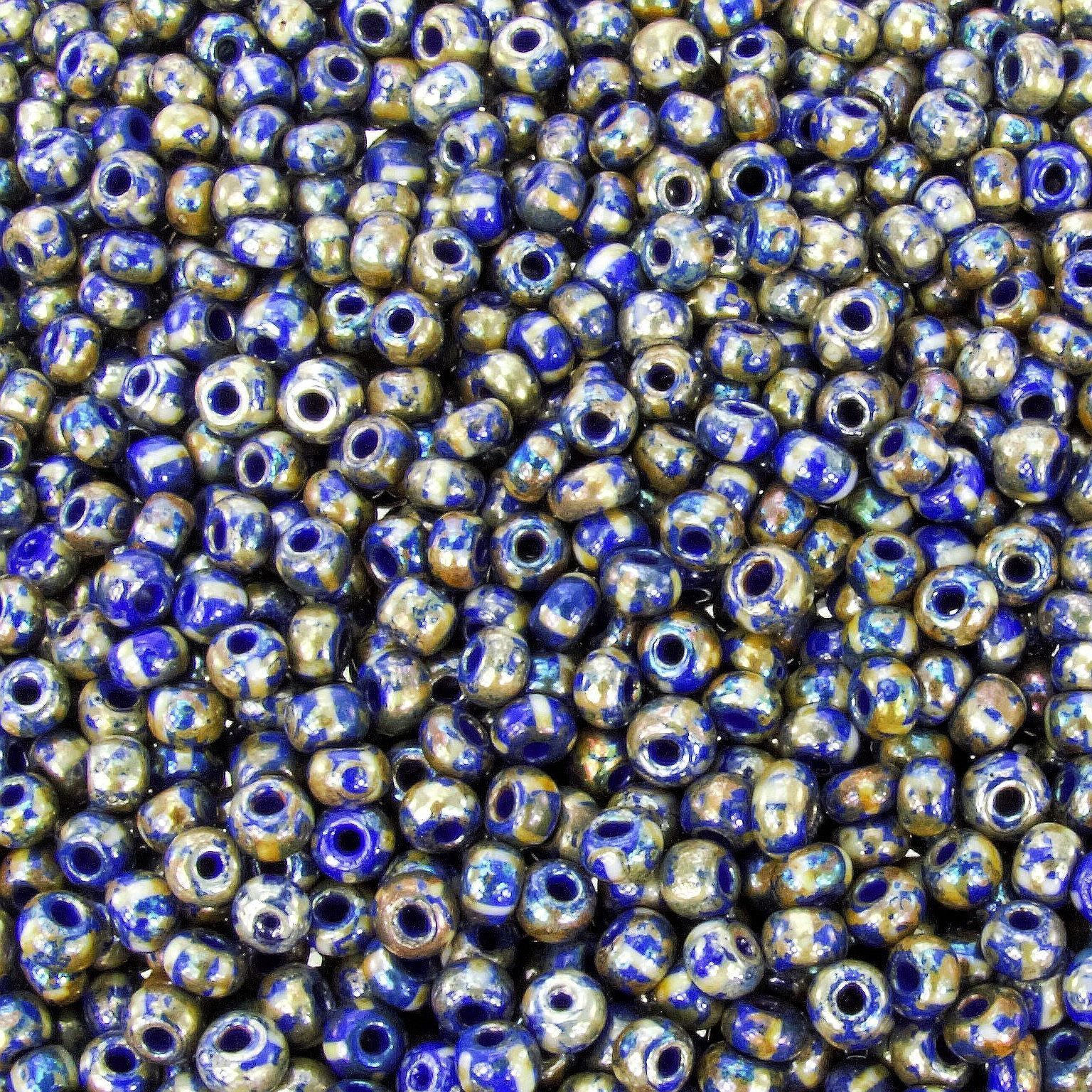6/0 Opaque Royal Blue with White Stripes Silver Picasso Czech Glass Seed Beads 20 Grams (CS260) SE
