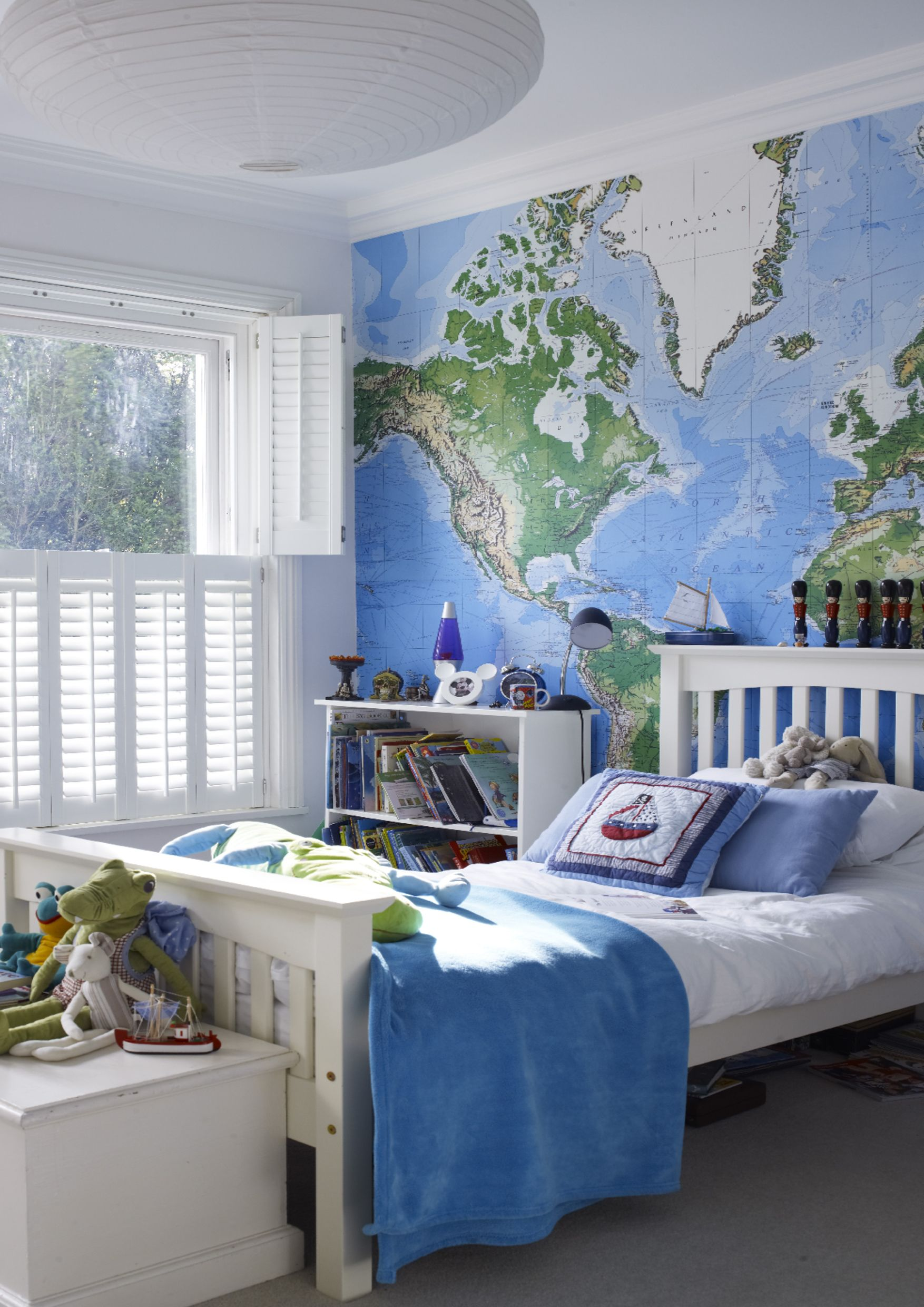 Add wanderlust into your room with giant map wall mural