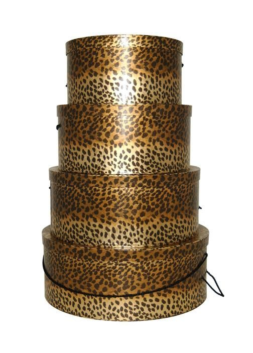 Decorating Hat Boxes Amusing Set Of Four Gorgeous Hatboxes In Metallic Leopard Pattern Great Decorating Inspiration