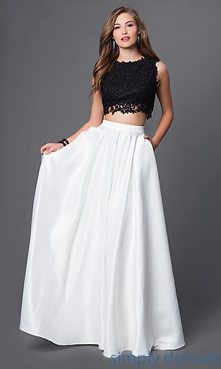 uk availability online sale double coupon Embroidered Two-Piece Black and White Gown | Dance the night ...