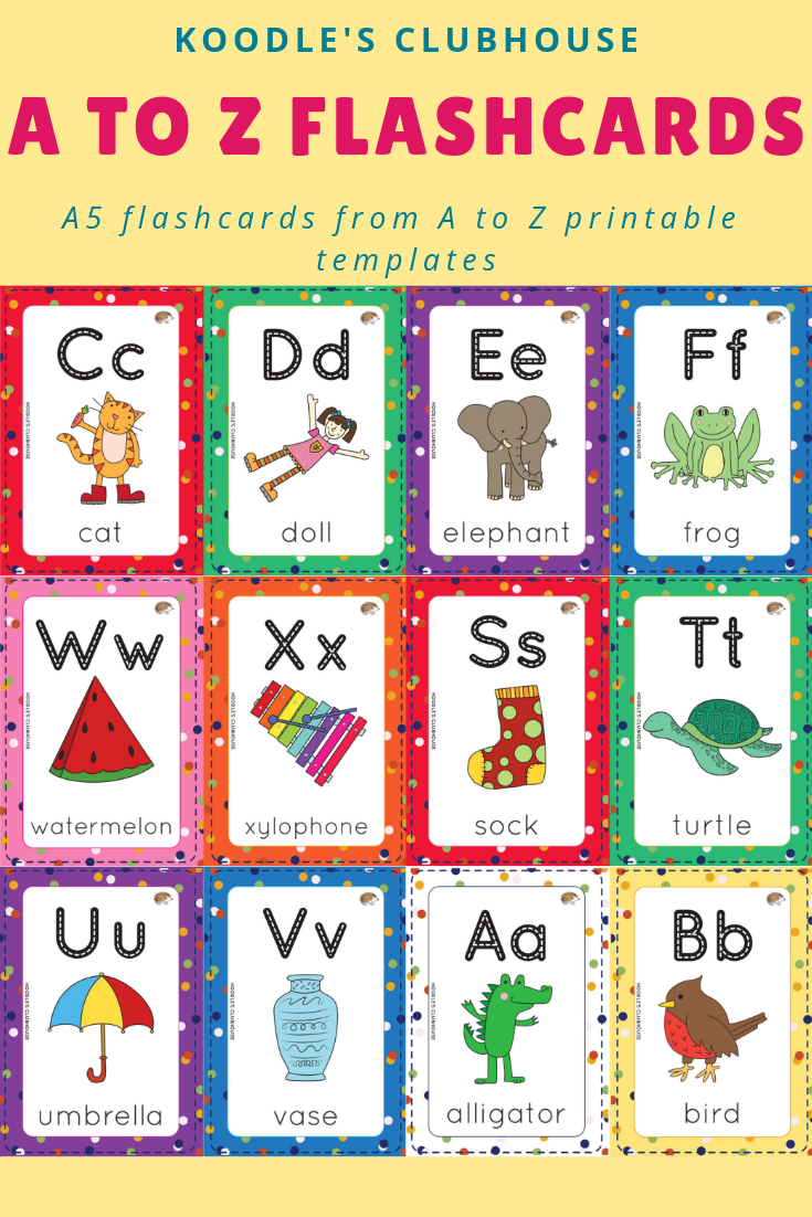 A to Z flashcards Lower case letters, Picture cards