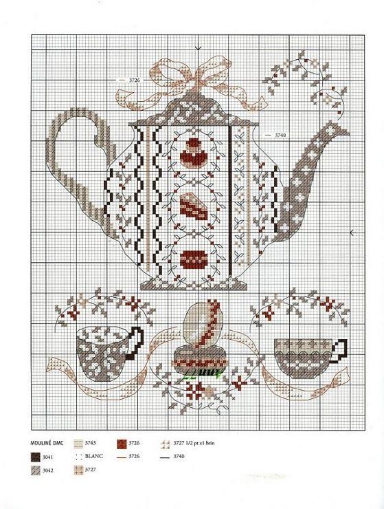 teapot | Theepot | Pinterest - Punto de cruz cocina, Punto de cruz ...