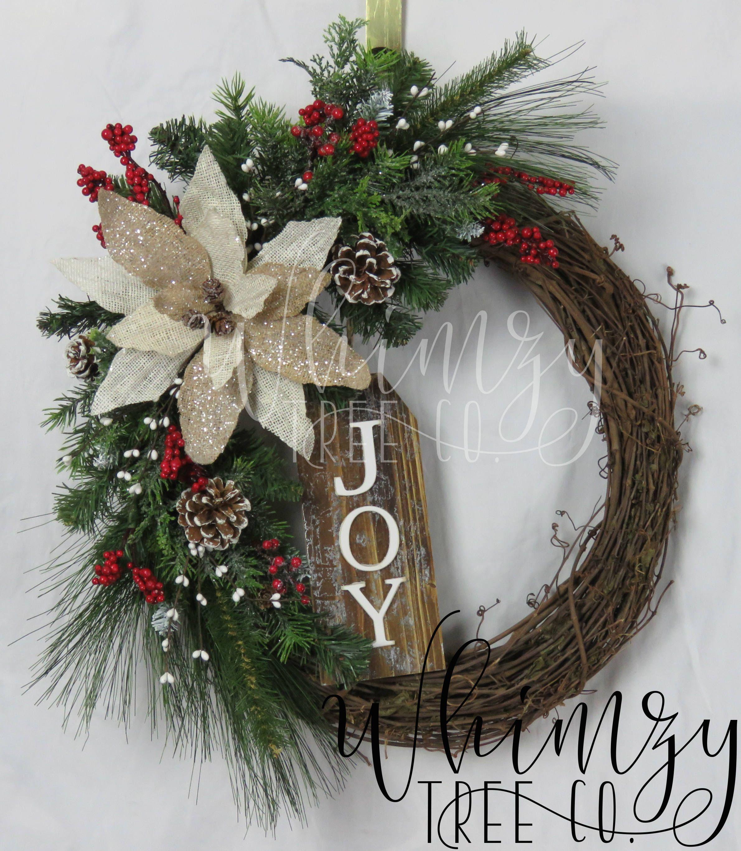Christmas Wreath for Front DoorJoy Christmas Wreath