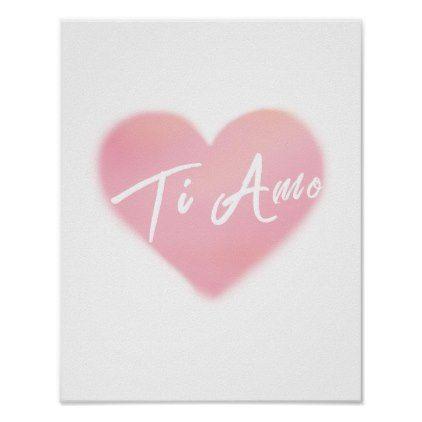 Ti Amo Heart Watercolor Art Print Poster Zazzle Com Watercolor