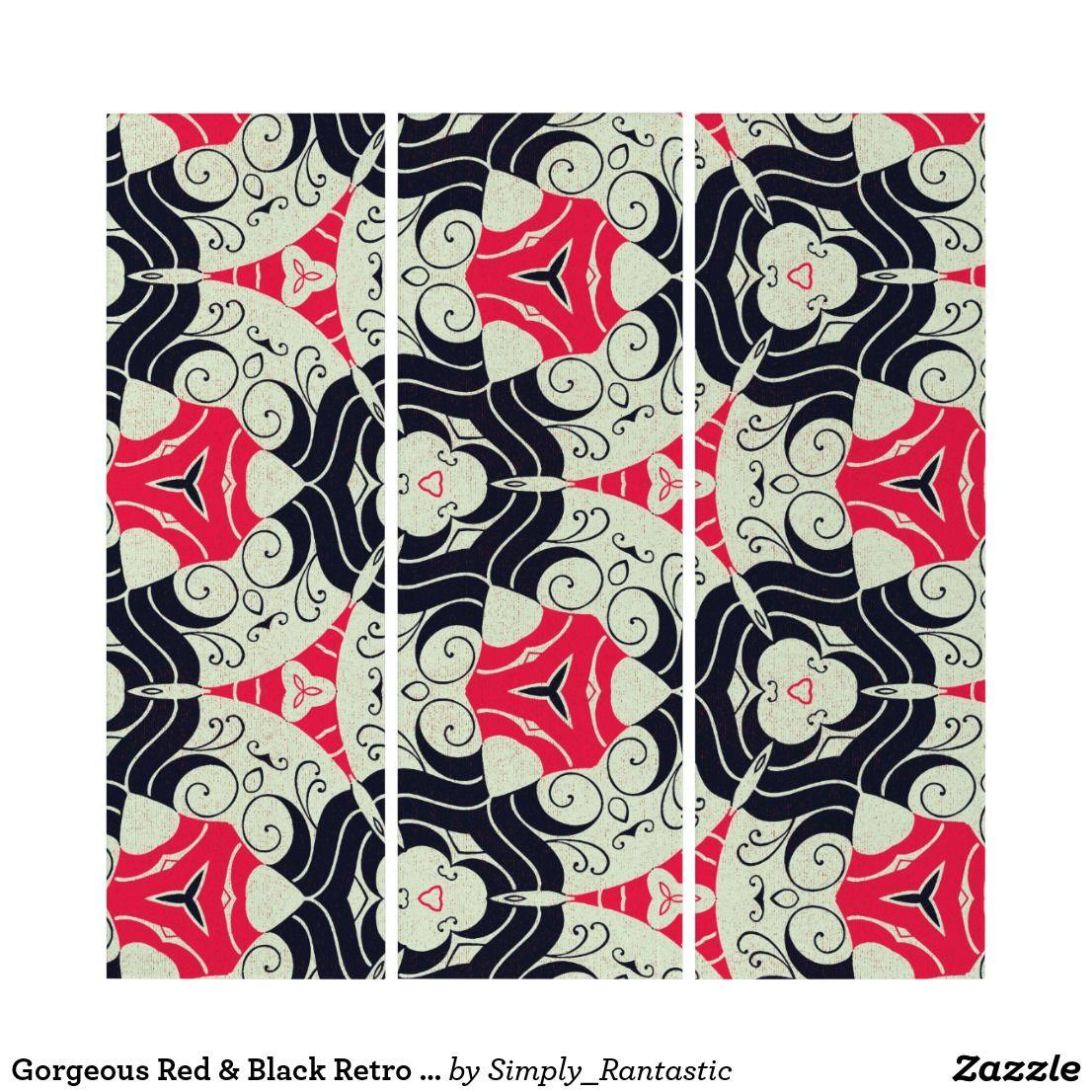 Gorgeous Red & Black Retro Pattern  Wall Art