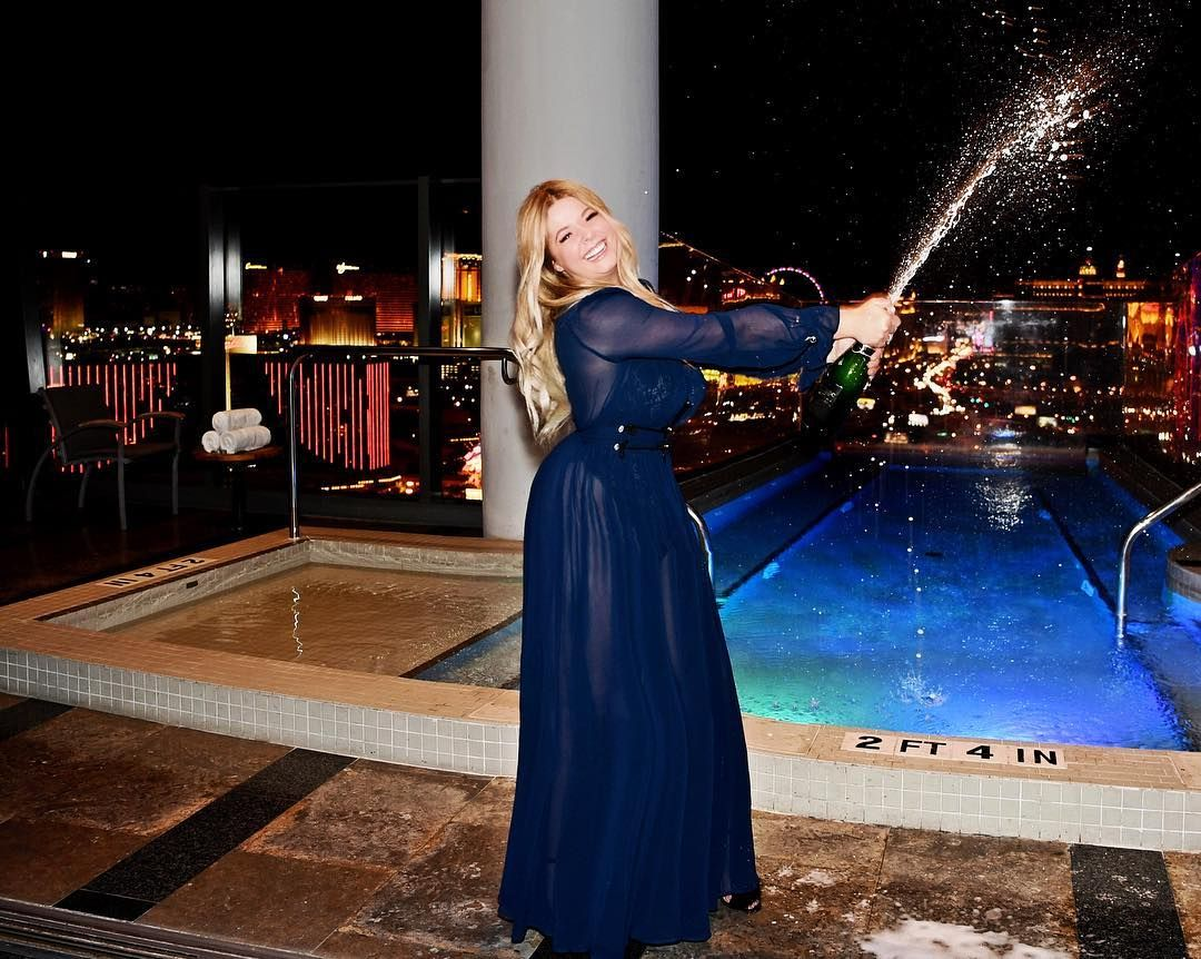 Sasha Pieterse wearing a sheer blue dress on her birthday in Las Vegas, PLL, Pretty Little Liars