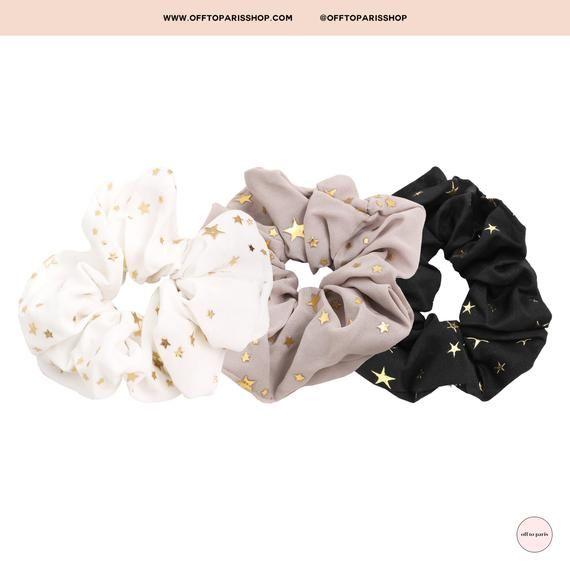 Star Hair Scrunchies | Gold Star Hair Scrunchies | Black Hair Scrunchies | Tan Hair Scrunchies | White Hair Scrunchies | Fabric Scrunchies #hairscrunchie