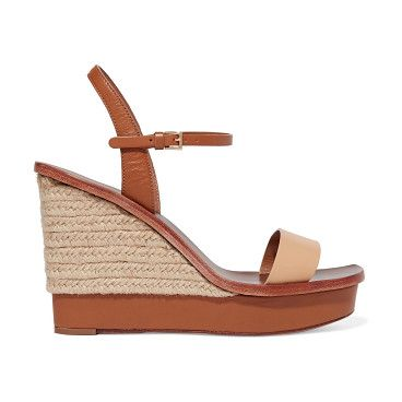 Malaga Two-tone Leather Espadrille Wedge Sandals by Tory Burch. Tory Burch  tan and beige Malaga sandals . Jute wedge heel measures approximately  inches with ...