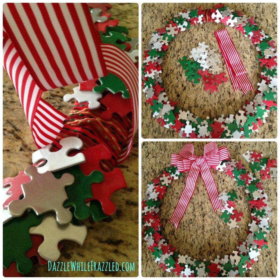 Diy unique festive holiday wreath from puzzle pieces