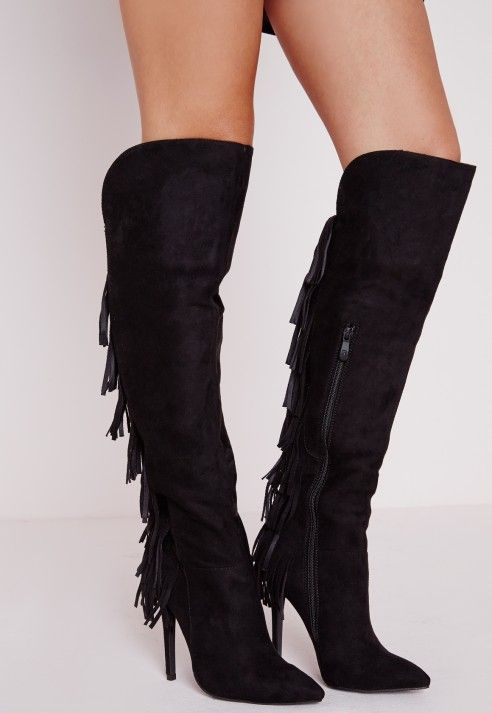 Fringe Back Heeled Boots Black - Shoes - High Heels - Missguided ...