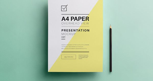 a4-paper-letter-presentation-overhead-view-mock-up- Mock up - letter of presentation