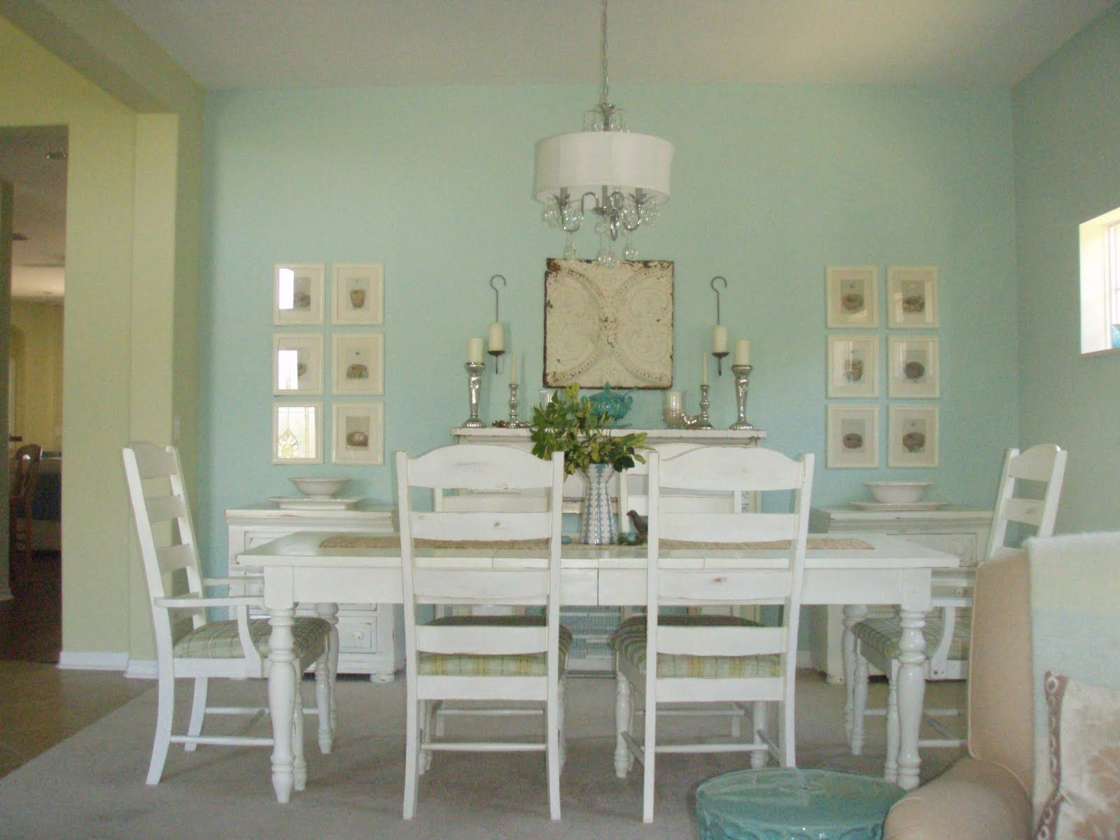 White Farmhouse Table, Love The Seafoam Green Wall Color Too
