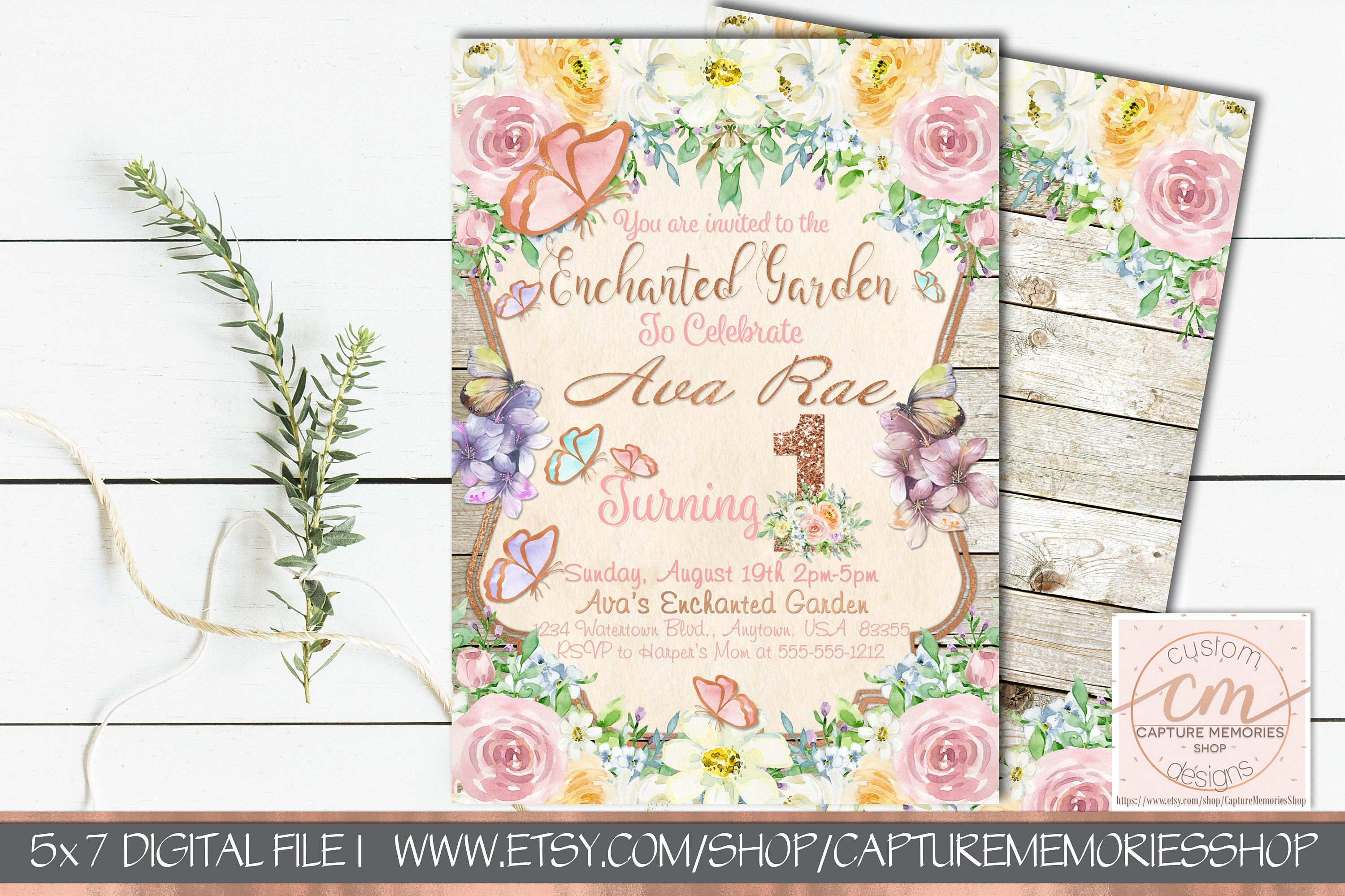 First Birthday Invitations for Girl, Butterfly Floral