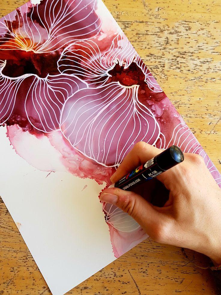 Die beliebtesten: Alkoholtinte und Posca-Stift auf Yupo-Papier. Von dem dänischen Künstler Juli #wasserfarbenkunst