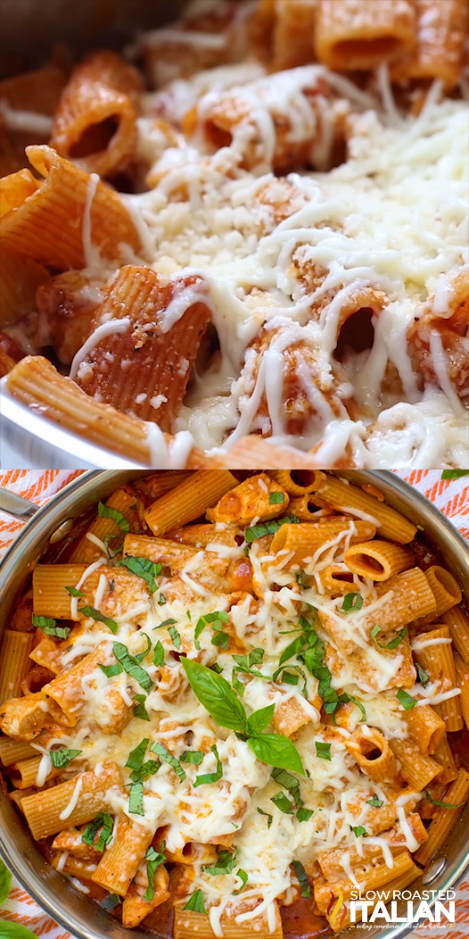One-Pot Chicken Parmesan Pasta #chickenparmesan