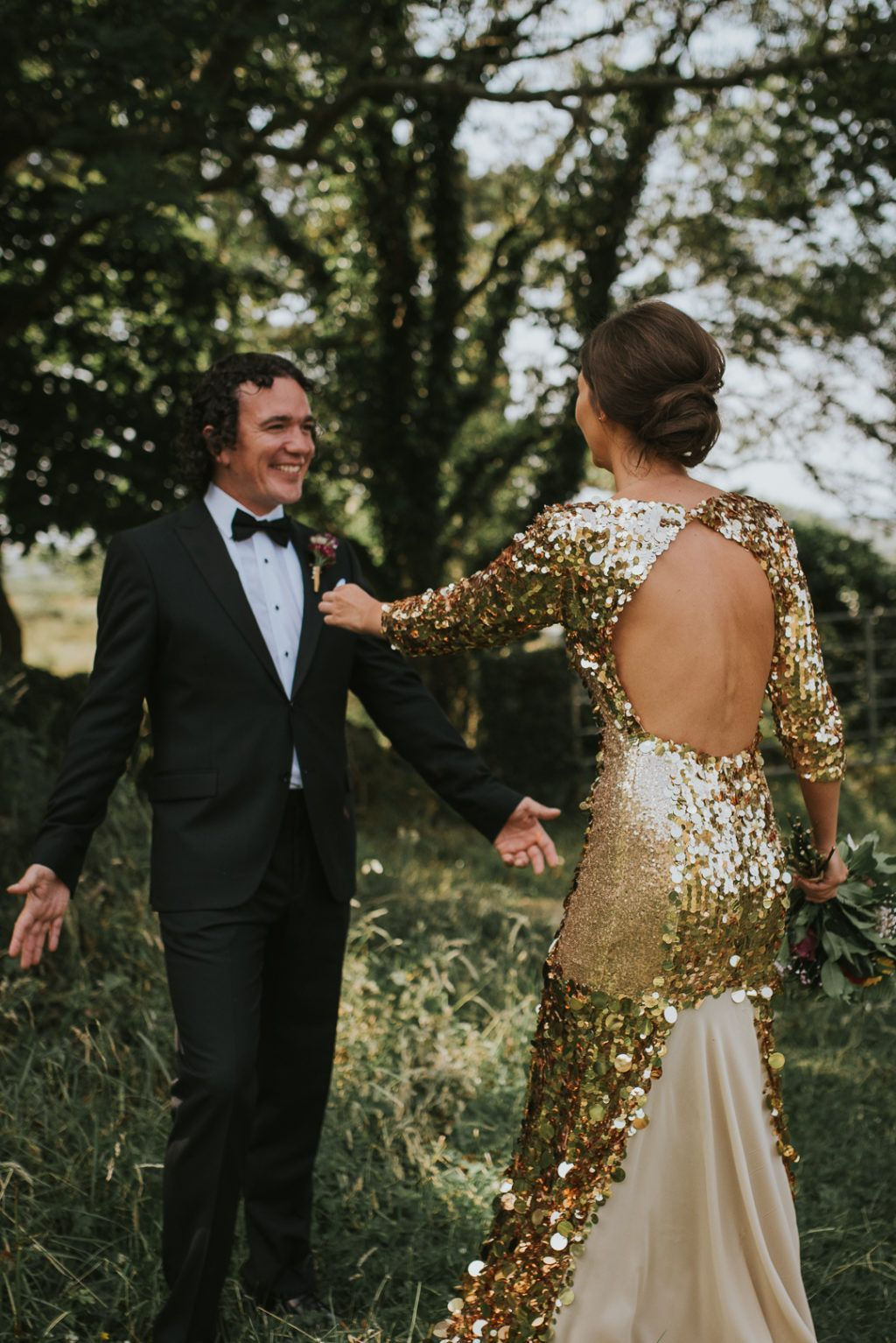 We Could Not Be Bigger Fans Of This Bride S Gold Sequin Wedding Dress In 2020 Sequin Wedding Wedding Dress Sequin Gold Wedding Dress