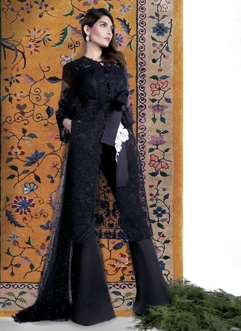 Sana Safinaz Black Organza Resham Embroidered Eid Outfit For Women Net Dress Black Net Dress Pakistani Dress Design [ 1097 x 800 Pixel ]